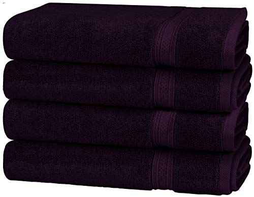 Utopia Towels Premium 700 GSM Cotton Large Hand Towels (Plum, 4-Pack,16 x 28 inches) - Multipurpose Towels for Bath, Hand, Face, Gym and Spa ()