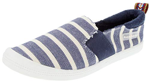 Rampage Women's Gretchen Comfortable Slip On Sneaker Shoe with No-Tie Laces and Cute Design 9.5 Navy Stripe