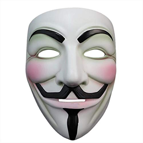 Halloween Masquerade Anonymous V for Vendetta Guy Mask with Sticker (White A) -