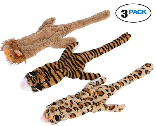 (Beautoday No Stuffing Dog Toys Durable Stuffless Plush Squeaky Stuffing Free Dog Set with Leopard Lion Tiger Small Medium and Large Dogs 3 Packs,21-Inch)