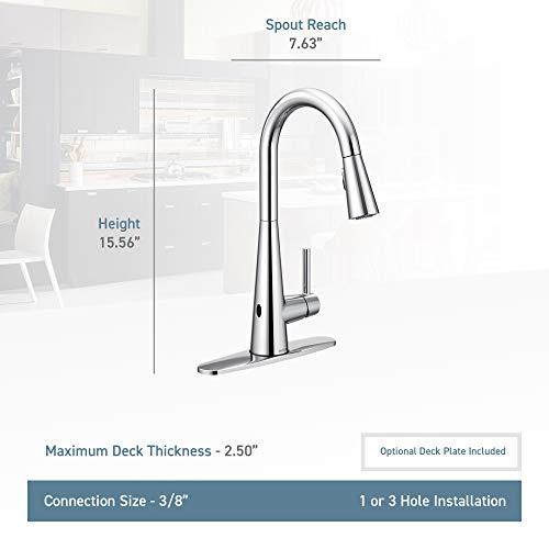 Moen 7864EWSRS Sleek One-Handle High Arc Pulldown Kitchen Faucet Featuring Reflex and MotionSense Wave, Spot Resist Stainless by Moen (Image #2)