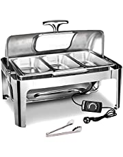 9l Food Warmers Buffet and Plate Warmer, Stainless Steel Electric Chafing Dish with Lids for Buffets, Snack Bars, Weddings and Large Hotels, Adjustable Temperature