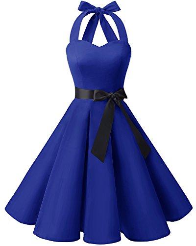 Style Rtro avec Royal Rockabilly Ceinture Vintage 50 Robe Annes Bridesmay Audrey Blue Hepburn Halter wR8fAxE6q