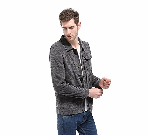 Long with Jacket Down Outwear Pocket Men's Turn Tops Sleeve Corduroy Gray Collar Coat dTRnwq4vcF