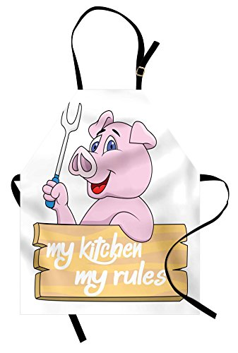 Lunarable Pig Apron, Pig Chef BBQ Barbeque Fork Tongs Fast Food Mascot Character Grill Wood Menu Theme Print, Unisex Kitchen Bib Apron with Adjustable Neck for Cooking Baking Gardening, Pink White