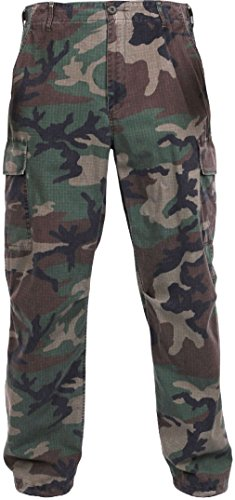 Pants Fatigue Ripstop Vietnam (Woodland Camouflage Military Rip-Stop Vintage Vietnam Fatigue Pants)