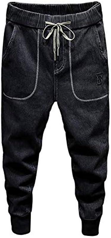 YANGPP Jeans Für Männer Elastischer Bund Kordelzug Jogger Pants Teens Yong Boys Hosen Freizeithose Relaxed Tapered Jeans, Black Grey, 28: Sport & Freizeit