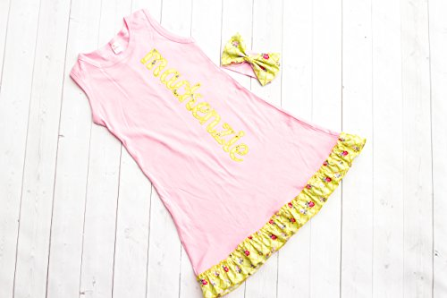 Girl's Pink Personalized Ruffle Dress by Thready Teddy Embroidery - Yellow Floral Monogram - Custom Swimming Cover - Embroidered Beach Wear - Cute Name Summer Spring - Names Pink Kids