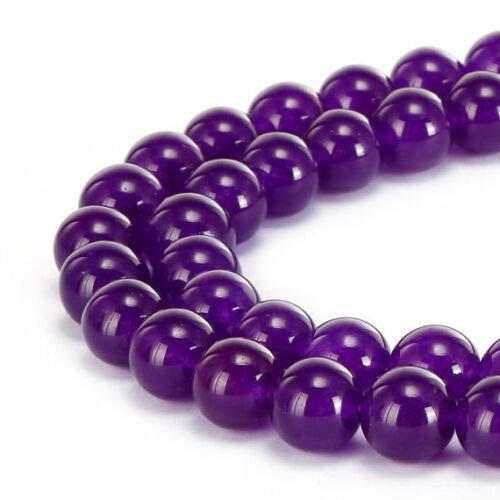 (ShopForAllYou Design Making (Purple) Smooth Dyed Jade Round Beads 8mm 15.5
