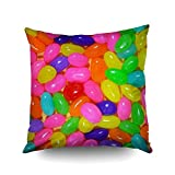 jelly bean cotton candy machine - Capsceoll Colorful Jellybean Candy Decorative Throw Pillow Case 20X20Inch,Home Decoration Pillowcase Zippered Pillow Covers Cushion Cover with Words for Book Lover Worm Sofa Couch