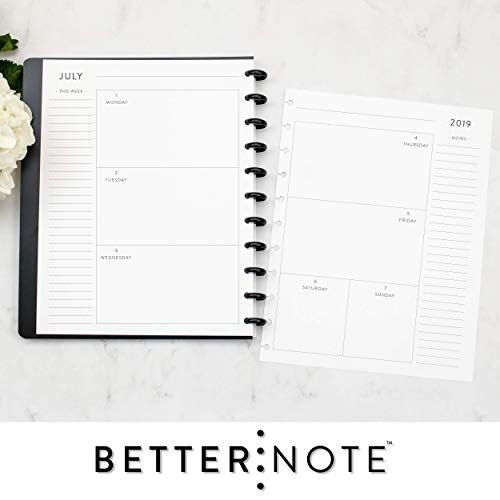BetterNote 2019-2020 Weekly and Monthly Calendar for Disc-Bound Notebook, 11-Disc Letter Size, Fits Levenger Circa, Arc, 8.5