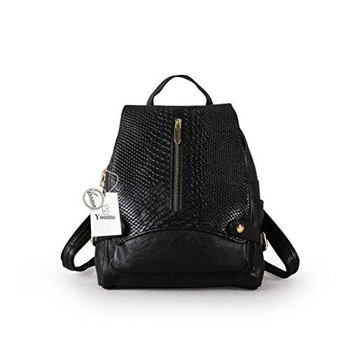 Yoome Women Grain Capacity Girls Leather Alligator Purse Black Shoulder Bag School Backpack for Large Bookbag Handbag r1qxrwz