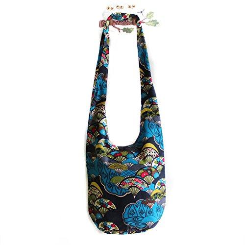 MOLLYGAN Women's Folk Style Canvas Sling Shoulder Bag Crossbody Bag Hobo (Color (Hobo Color)