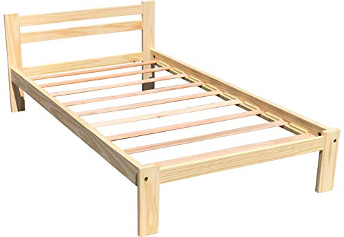 Amazonas Twin Bed Solid Pine Wooden Single Bed Unfinished with Hardwood Slats Support Suitable for Boys Girls Kids Bedroom Wooden Bed Frame Single Bed Ready to Finish