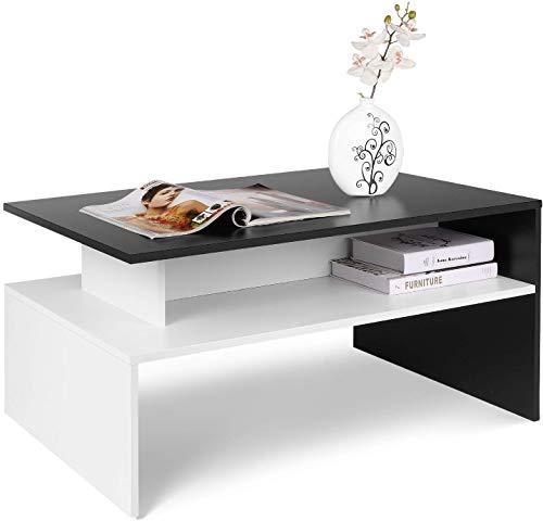 Homfa Mesa Centro Salon Mesa de Cafe Mesa Madera Mesa Auxiliar con 2 Estantes Blanco y Negro 90x50x43cm