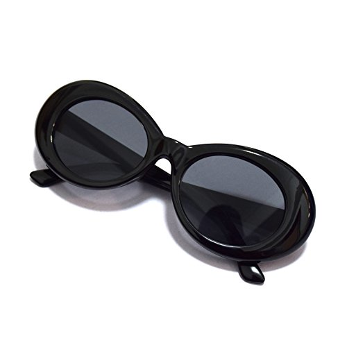JUSLINK Bold Retro Oval Mod Thick Frame Sunglasses Round Lens Clout Goggles ()
