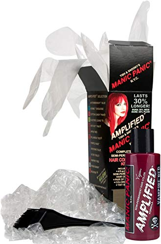 (Manic Panic Vampire Red Amplified Hair Coloring Kit - Vegan Semi-Permanent Red Hair Dye Cream, 3X Pigments & Lasts 30% Longer Than Our Classic Formula (6-8 Weeks), PPD & Ammonia-free - Ready to Use)