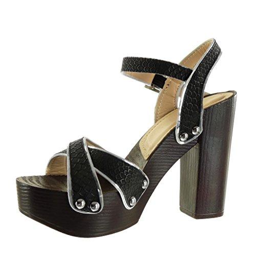 Angkorly - Chaussure Mode Sandale plateforme femme peau de serpent clouté lanière Talon haut bloc 12 CM - Noir