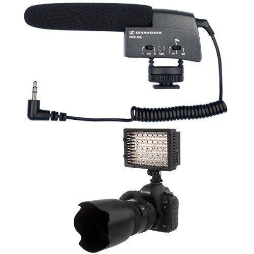 Sennheiser MKE 400 Shotgun Microphone (Black) and NEEWER 160 LED Panel Bundle