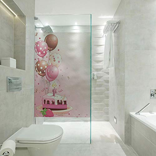 RWNFA DIY Home Decoration Glass Stickers Window Film,Strawberry Pink Slice of Cake Candle Dotted Balloons and Confetti,Customizable Size,Suitable for Bathroom,Door,Glass etc,Pink Tan Cream