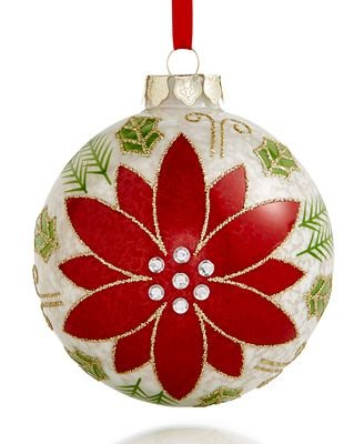Holiday Lane 2017 Glass Poinsettia Ball Ornament