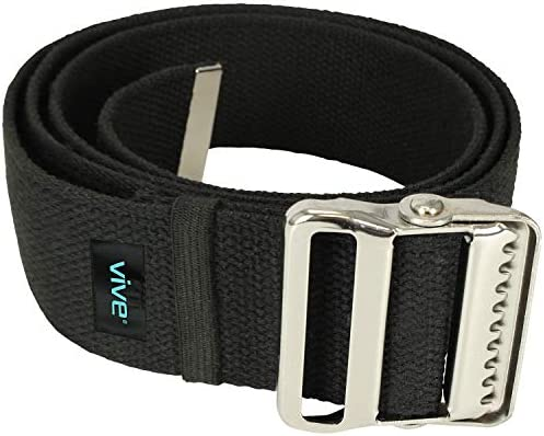 Vive Gait Belt (60 Inch) – Transfer Assist Device for Seniors, Elderly, Pediatric, Bariatric, Occupational and Physical Therapy – Medical Nursing Safety Long Gate Strap with Quick Release Metal Buckle