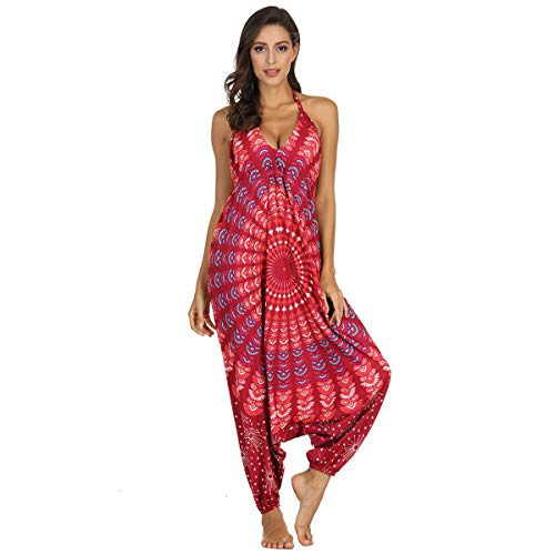 UONQD Women V-Neck Jumpsuit Loose Playsuit Gym Yoga Gypsy Jogging Harem Pants Baggy Palazzo Trousers Red