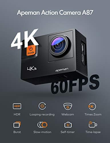 APEMAN Action Cam A87, Touch Screen 4K 2