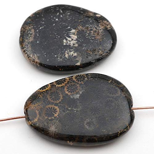 2 Pcs Flat Teardrop Black Brown Fossil Coral Beads Avg Size 37mm ()