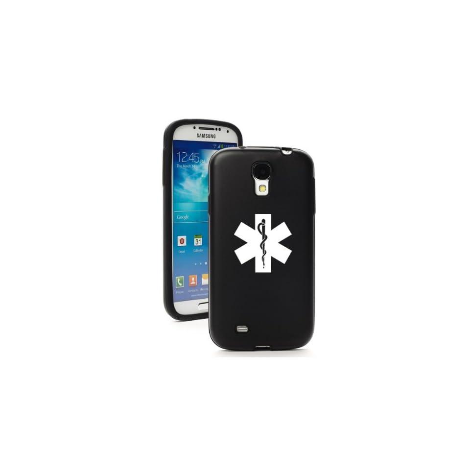 Black Samsung Galaxy S4 S IV i9500 Aluminum & Silicone Hard Back Case Cover KA1281 Star of Life EMT