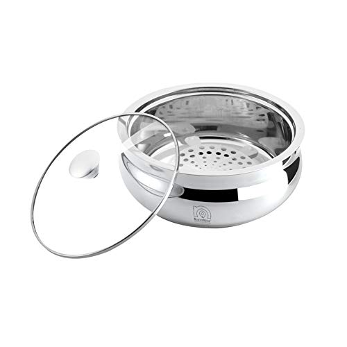 NanoNine Bellyno Double Wall Insulated Stainless Steel Serve Fresh Casserole with Glass Lid, 1.24 Litre, 1 pc