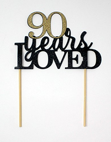 All About Details 90 Years Loved Cake Topper (Black & Gold) by All About Details