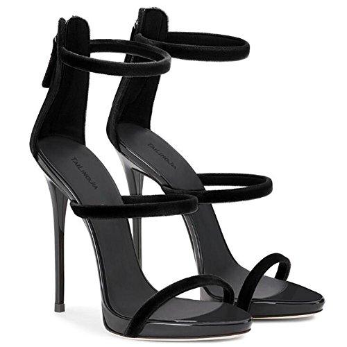 xie Chaussures pour femmes Cuir verni Les bretelles Rome Robe Talon aiguille Fête club Des sandales Taille 35 à 45 BLACK-EU41 4Dvc9leu