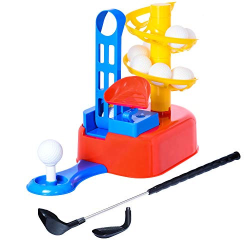 WishaLife Golf Toys Set, Kids Outdoor Toys, Kids Golf Clubs, Golf Ball Game, Early Educational, Outdoor Outside Exercise Toys for 3, 4, 5, 6, 7 Year Olds Kids, Toddlers, Boys, Girls