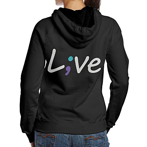 LXMHHoodie Suicide Prevention Awareness Live Love Semicolon Womens Hoodies Back Print Pullover ()