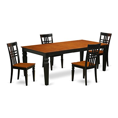 East West Furniture LGLG5-BCH-W 5 PC Table & Chair Set with One Logan Table & Four Dining Room Chairs in black & Cherry Finish