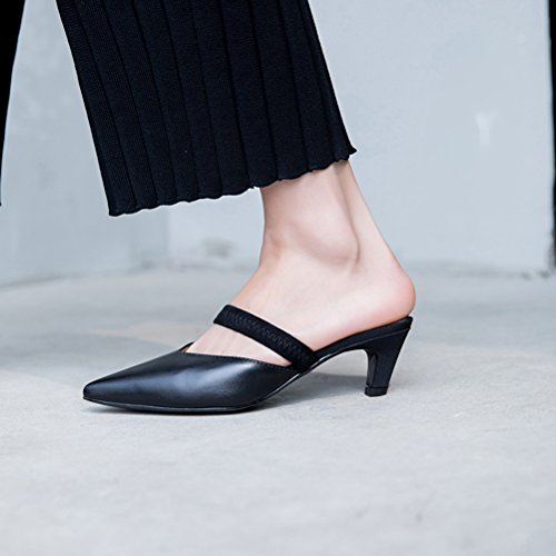 Beige Summer Toe Slippers Shoes Yellow Flops Flip Pointed Leather 39 Shoes Black Heel Women's Comfort amp; C Stiletto Walking Size for Color OqzEanwA