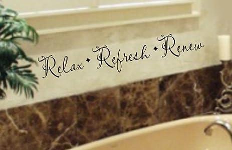 relax refresh renew bathroom vinyl wall lettering decal