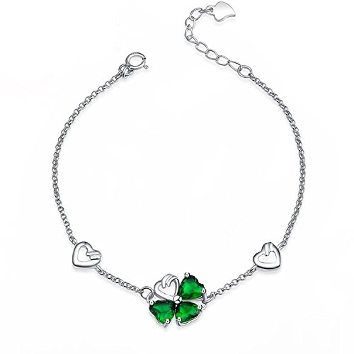 Women's Sterling Silver Cubic Zirconia Green Four Leaf Clover Lucky Charm Bracelet Adjustable Link (Silver Lucky Charm)