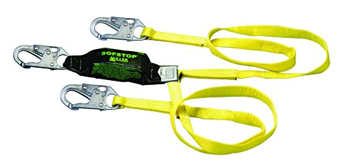 (Honeywell 8798-Z7/6FTYL Miller Lanyard with SofStop Shock-Absorber, Web Shock-Absorbing Lanyard with 6' double leg; 3 locking snap hooks)