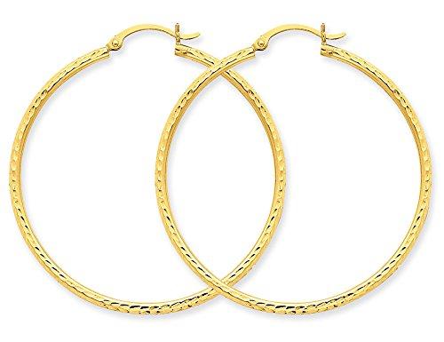 Large Diamond Cut Hoop Earrings in 10K Yellow Gold 1 1/2 inch (2 ()