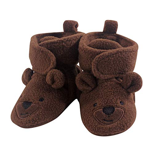 Hudson Baby Baby Cozy Fleece Booties with Non Skid Bottom, Brown Bear, 18-24 Months ()