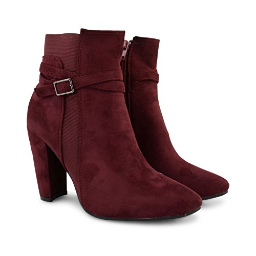 Footwear Sensation - botas estilo motero mujer burdeos