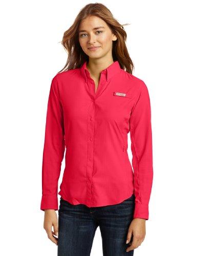 Columbia Womens Tamiami II Long Sleeve Shirt, Bright Rose, Large