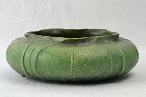Grueby Faience Pottery Bowl, 1900's Organic Form Green Bowl Artist Signed ER #428