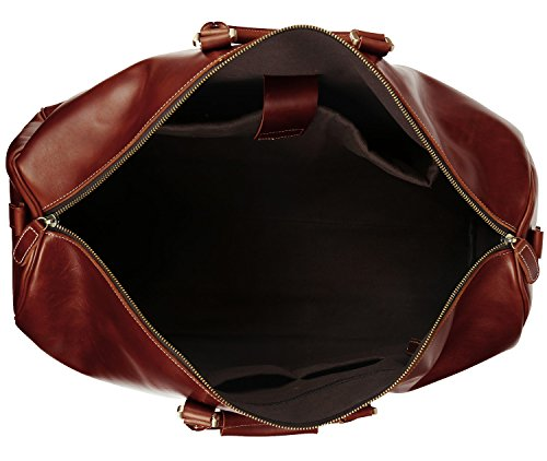 BAIGIO Men's luxury Leather Weekend Bag Travel Duffel Oversize Tote Duffle Luggage (Brown) by BAIGIO (Image #5)