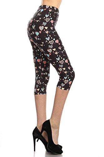 Pants Capri Hearts (Capri Print Leggings Queen of Hearts (R928-CA-OS))