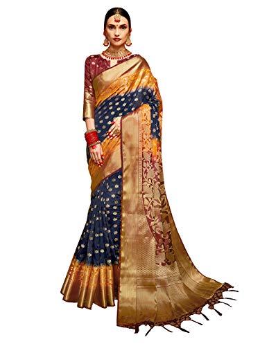 - Sarees for Women Banarasi Art Silk Woven Saree l Indian Wedding Gift Sari with Unstitched Blouse