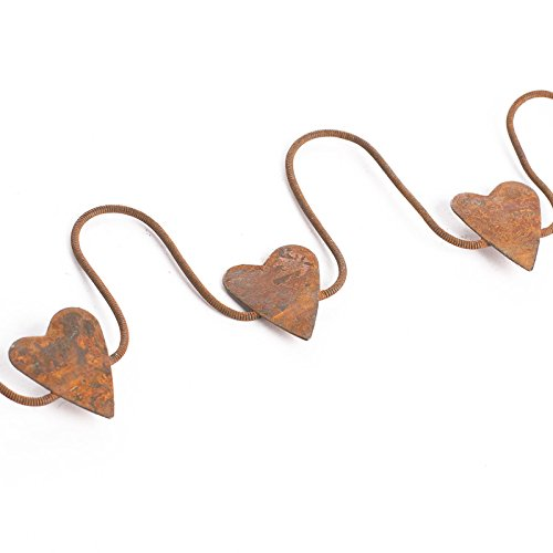 Factory Direct Craft Set of 3 Rusty Tin Metal Heart Garlands Each 6 Feet Long for Home Decor, Crafting and - Factory Tin Set