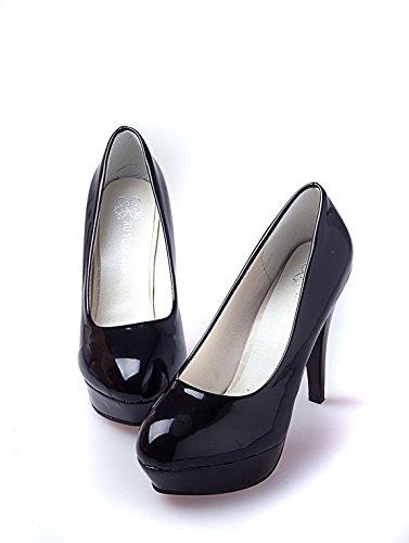 Ruanlei@Sexy de Tacones Altos/Clásicas Tacones Altos/fashion - Cerrado Mujer/Tacones de Charol ElegantesElegante y versátil impermeable solo zapatos de mujer black